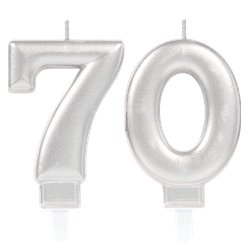 70th Birthday Candles - Silver 7.5cm