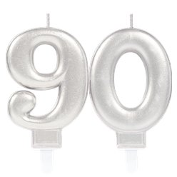 90th Birthday Candles - Silver 7.5cm