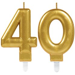 40th Birthday Candles - Gold 7.5cm