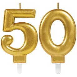 50th Birthday Candles - Gold 7.5cm