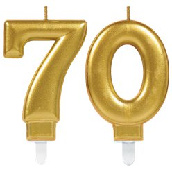 70th Birthday Candles - Gold 7.5cm