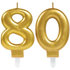 80th Birthday Candles - Gold 7.5cm