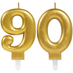 90th Birthday Candles - Gold 7.5cm