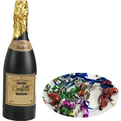 Multi Coloured Paper Confetti Champagne Bottle Cannon