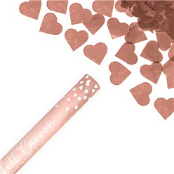 Rose Gold Hearts Confetti Cannon - 60cm