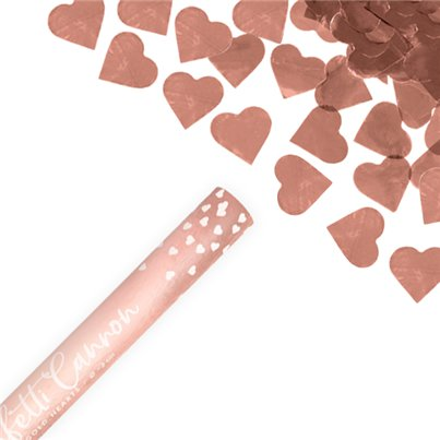 Confetti Cannons Rose Gold Hearts Confetti Cannon - 60cm