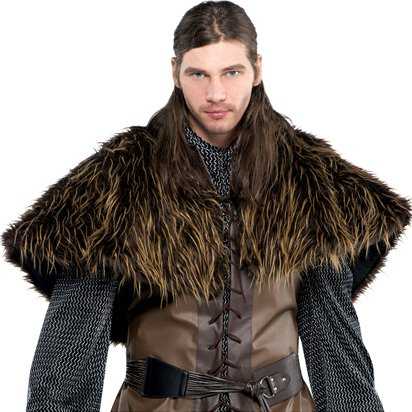 Furry Shoulder Cape - Men's Jon Snow Game of Thrones Fancy Dress Accessory - Men's One Size front