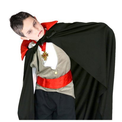 Kids Vampire Cape - Childs Halloween Fancy  Dress Accessories front