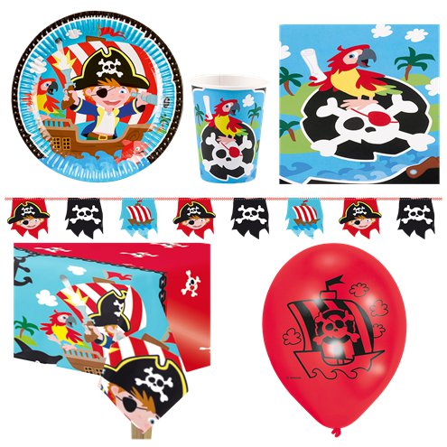 SERVES 8 GUESTS PIRATE Paper Party Pack Plates Cups Napkins Tablecloth Invite