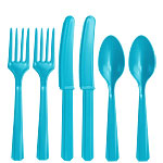 Turquoise Plastic Cutlery - Assorted Party Pack