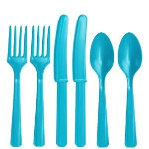 Turquoise Reusable Plastic Cutlery - Assorted Party Pack