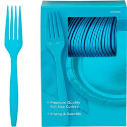 Turquoise Reusable Forks - 100pk