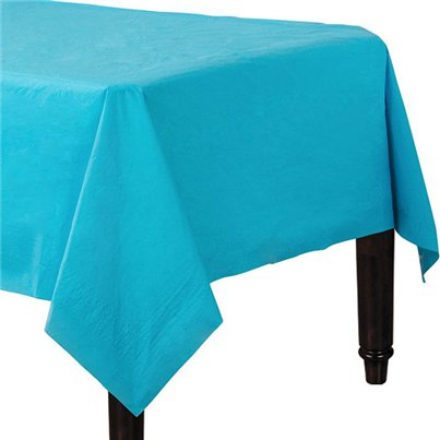 Turquoise Plastic Lined Paper Tablecover - 1.4m x 2.8m