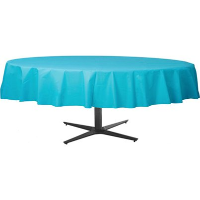 Turquoise Round Tablecover - Plastic - 2.1m