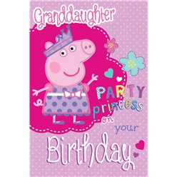 Peppa Pig Granddaughter Glittery Birthday Card