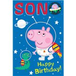Peppa Pig Son Birthday Card - Space Theme