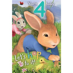 Peter Rabbit Age 4 Activity Birthday Card - 232mm x 156mm