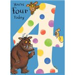 Gruffalo Age 4 Blue Spotty Birthday Card