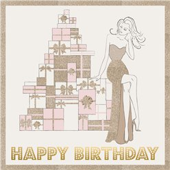 Rose Gold Glitter Birthday Presents Card - 21cm