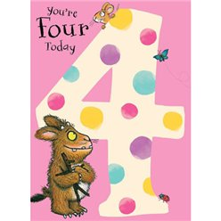 Gruffalo Age 4 Pink Spotty Card