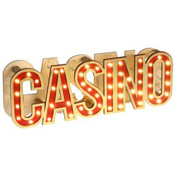LED Casino Sign - Wooden