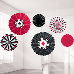 Casino Paper Fan Decorations - 40cm