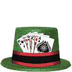 Casino Glitter Top Hat with Cards