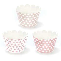 Pink Polka Dot Cupcake Wrappers - 7.5cm