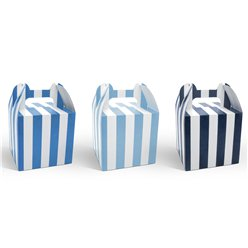 Blue Stripe Cupcake Boxes - 12.5cm