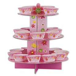 Pink Butterflies Cup Cake Kit - Stand, Picks & Cases - 3 Tier