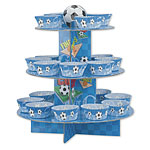 Blue Football Cup Cake Kit - Stand, Picks & Cases
