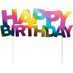 Rainbow Foil Happy Birthday Cake Topper - 18cm