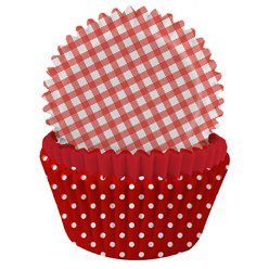 Red Gingham & Polka Dot Cupcake Cases - 5cm