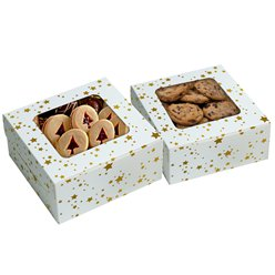 Gold Stars Square Treat Boxes with Window - 16cm