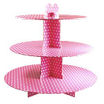 Pink Polka Dot Cup Cake Stand - 3 Tier