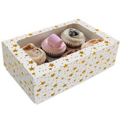 Gold Stars Cake Box for 6 Cupcakes