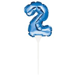 Air-Filled Blue Balloon Number 2 Cake Topper - 13cm