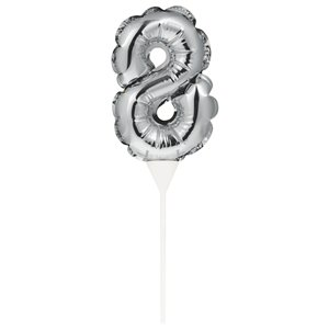 Air-Filled Silver Balloon Number 8 Cake Topper - 13cm