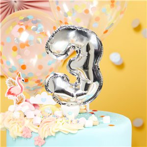Air-Filled Silver Balloon Number 4 Cake Topper - 13cm