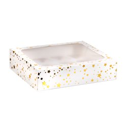Gold Stars Cake Box for 12 Cupcakes