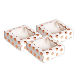 Rose Gold Polka Dot Square Treat Boxes