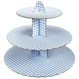 blue gingham cup cake stand 3 tier. Black Bedroom Furniture Sets. Home Design Ideas