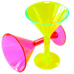 Multi-coloured Mini Martini Plastic Glasses - 42ml