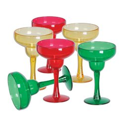 Multi-coloured Plastic Mini Margarita Glasses - 42ml
