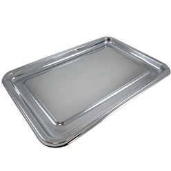 Silver Plastic Rounded Rectangular Platters - 46cm