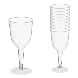 Clear Plastic Wine Glasses - 295ml
