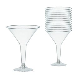 Clear Plastic Martini Glasses - 227ml