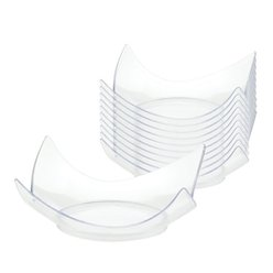Clear Plastic Mini Curved Plates - 7cm