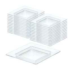 Clear Plastic Mini Square Plates - 7cm