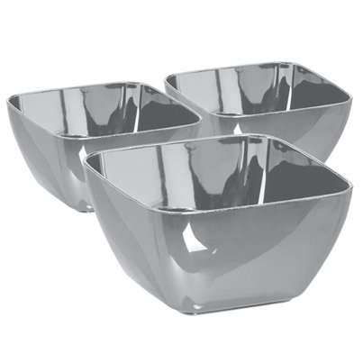 Silver Plastic Mini Bowls - 71ml